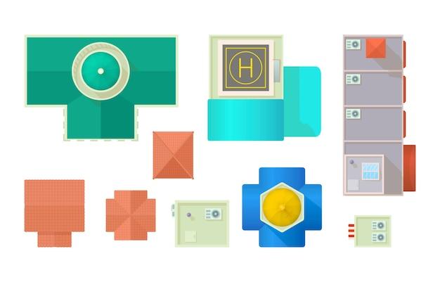 Edifícios, de, ar, ícone, jogo