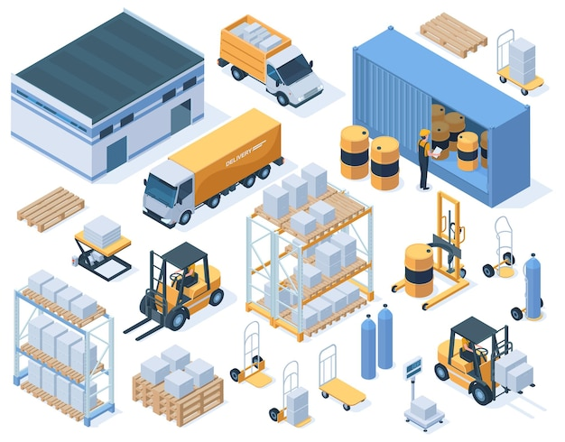 Edifícios de armazenamento isométrico, caminhões de carga e trabalhadores de depósito. equipamento de armazém industrial, conjunto de ilustração vetorial de serviço de entrega. elementos de armazenamento de armazém e isométrica de carga de edifício