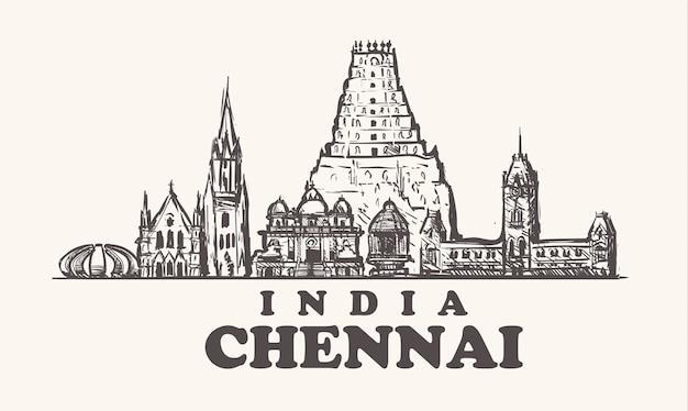 Edifícios de chennai na índia Vetor Premium