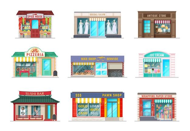 Edifícios de desenhos animados de lojas de rua da cidade. casa de especiarias de vetor, salão de noivas e pizzaria café, antiquário, serviço de bicicletas e gelateria de sorvete, sushi bar, loja de penhores e fachada de loja de papel de embrulho