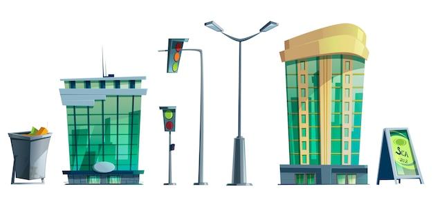 Edifícios de escritórios da cidade moderna, semáforos, luz de rua