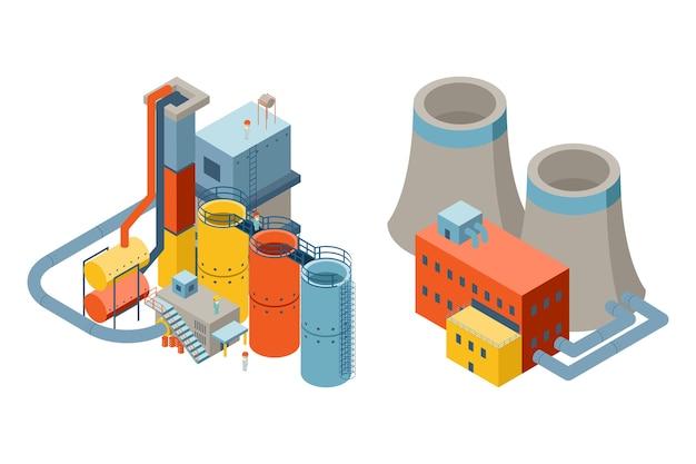 Edifícios de fábrica industrial em 3d em vista isométrica