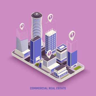 Edifícios de imóveis comerciais complexos na tela do celular com ilustração isométrica do símbolo do marcador de localização