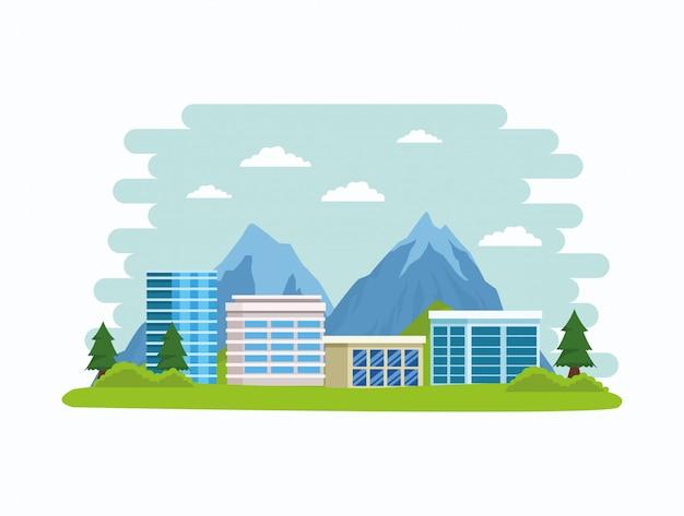 Edifícios de paisagem urbana e paisagens da natureza
