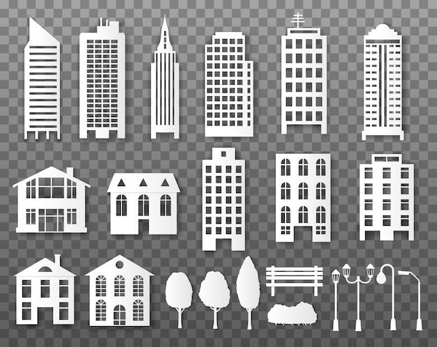 Edifícios de papel. casas de cidade de origami papercut.