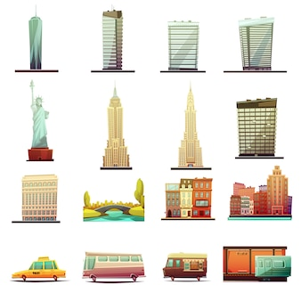 Edifícios de pontos turísticos de nova iorque marcos atrações de turistas e elementos de transporte