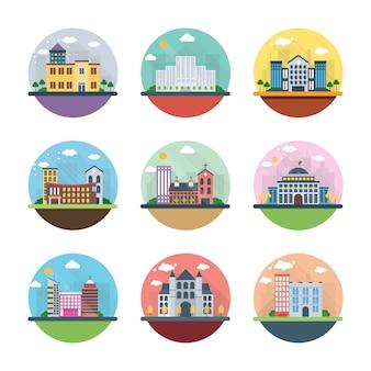 Edifícios diferentes ícones planas
