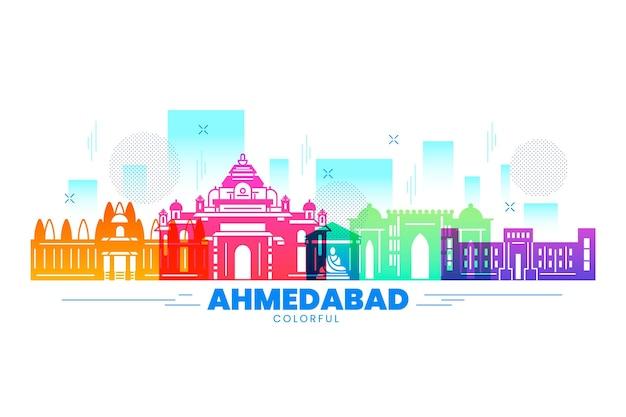 Edifícios do horizonte ahmedabad em várias cores