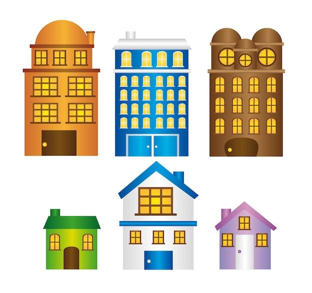 Edifícios e casas com vetor isolado de janela