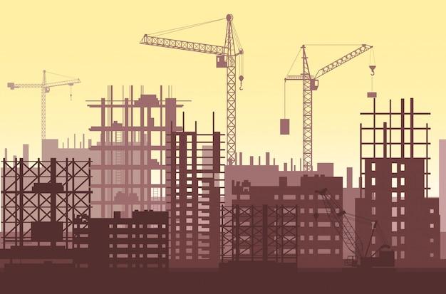 Edifícios em construção em andamento