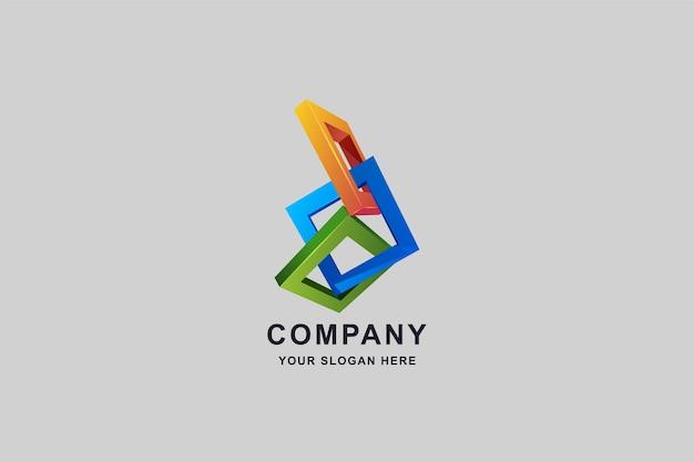 Edifícios em construção ou design de logotipo em formato quadrado 3d