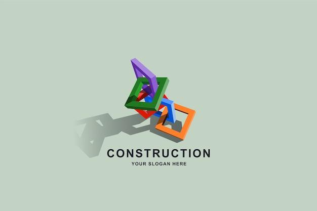 Edifícios em construção ou design de logotipo quadrado com moldura de caixa 3d