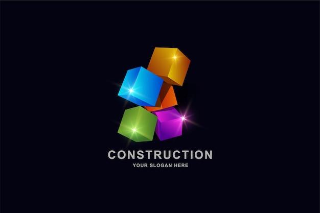 Edifícios em construção ou modelo de design de logotipo em formato quadrado 3d