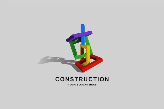 Edifícios em construção ou modelo de design de logotipo quadrado de moldura de caixa