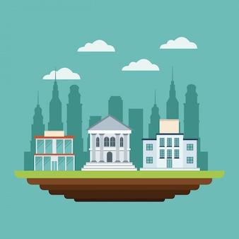 Edifícios empresariais, banco comercial, faculdade, estilo urbano