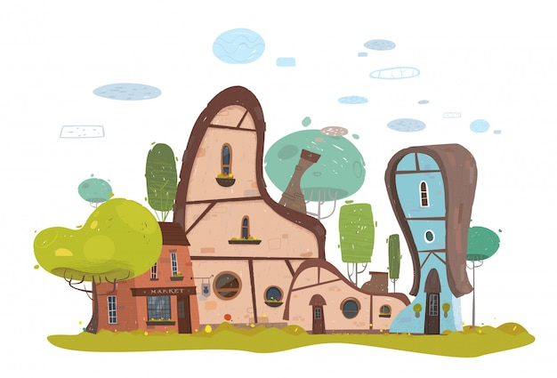 Edifícios exteriores da casa e do mercado no subúrbio