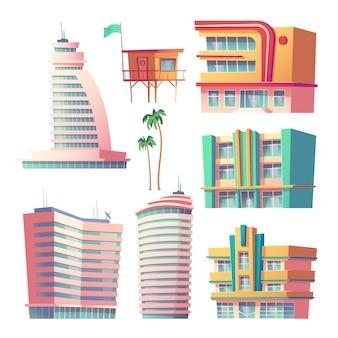 Edifícios, hotéis modernos em miami no horário de verão