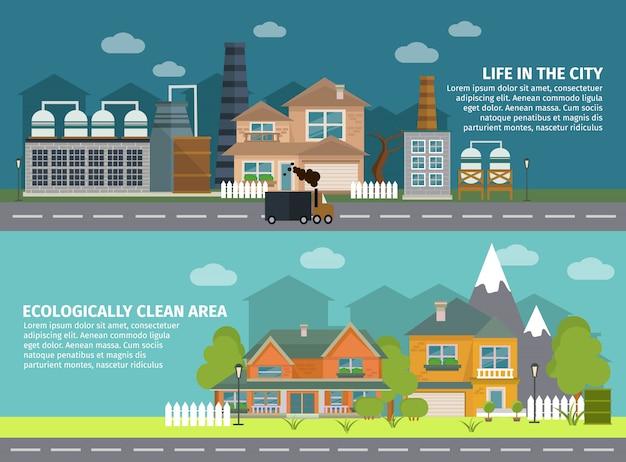 Edifícios industriais e banners planos da cidade