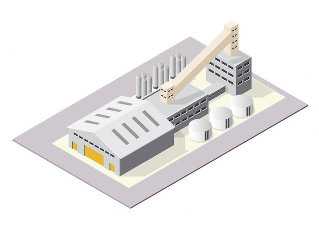 Edifícios industriais ou de fábrica isométricos