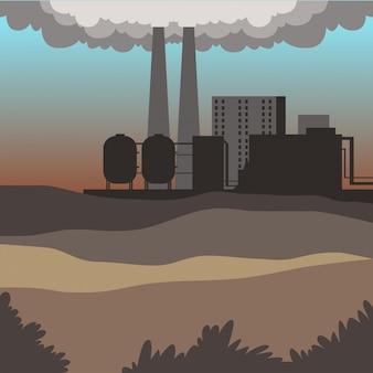 Edifícios industriais, paisagem moderna da cidade, ilustração de fundo do ambiente contaminado