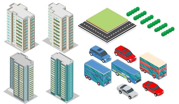 Edifícios isométricos com elementos, carros, árvores e rodovias