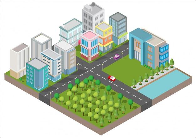 Edifícios isométricos com quintal, rio, estrada e árvores