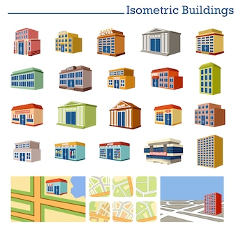 Edifícios isométricos e mapas.