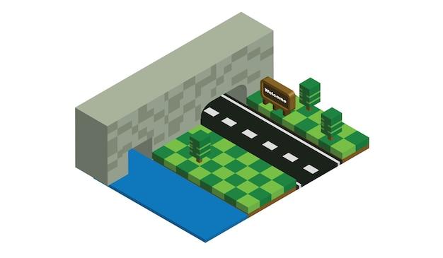 Edifícios isométricos, parques e rios