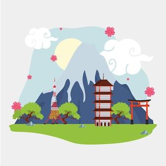 Edifícios marco japonês ao ar livre