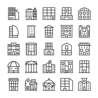 Edifícios, marcos linha ícones