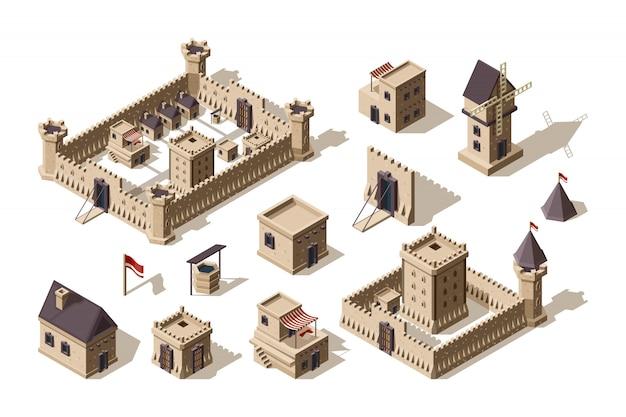 Edifícios medievais. aldeia de objetos arquitetônicos antigos e castelos para jogos