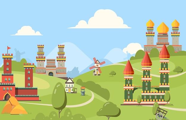 Edifícios medievais. fundo horizontal de edifícios de castelos do reino de tijolos e rua velha de madeira com torres.