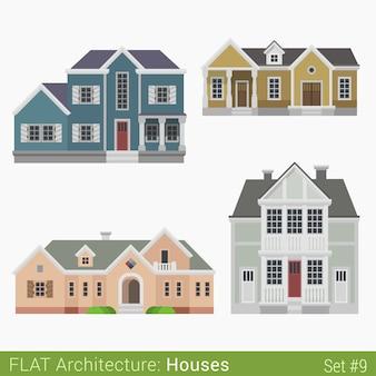 Edifícios modernos campo subúrbio casa geminada municipal igreja casas definidas elementos da cidade arquitetura elegante coleção de propriedades imobiliárias
