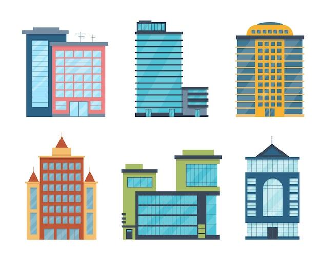 Edifícios modernos da cidade isolados no branco