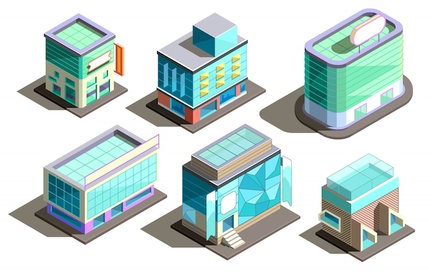 Edifícios modernos isométricos, arranha-céus dos desenhos animados