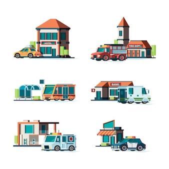 Edifícios municipais. carros da cidade perto da fachada dos edifícios bombeiros correios banco polícia ilustrações públicas