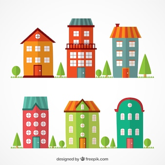 Edifícios planas coloridas