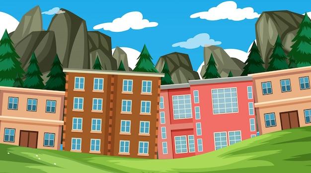 Edifícios que revestem a borda de um parque durante o dia