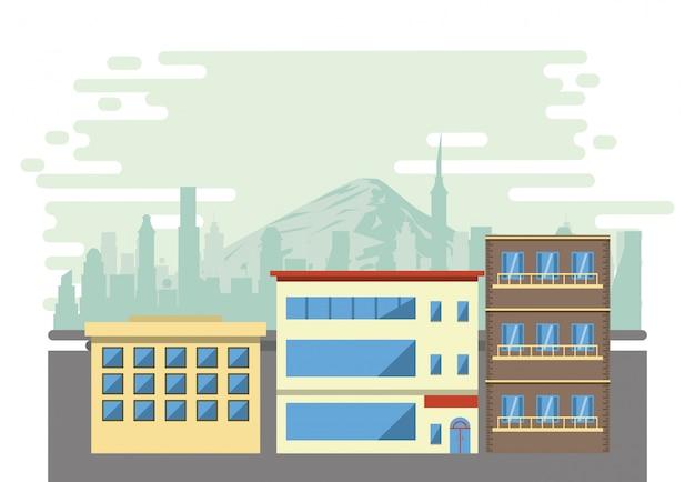 Edifícios urbanos com paisagem urbana
