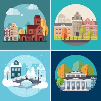 Edifícios urbanos e urbanos, paisagens