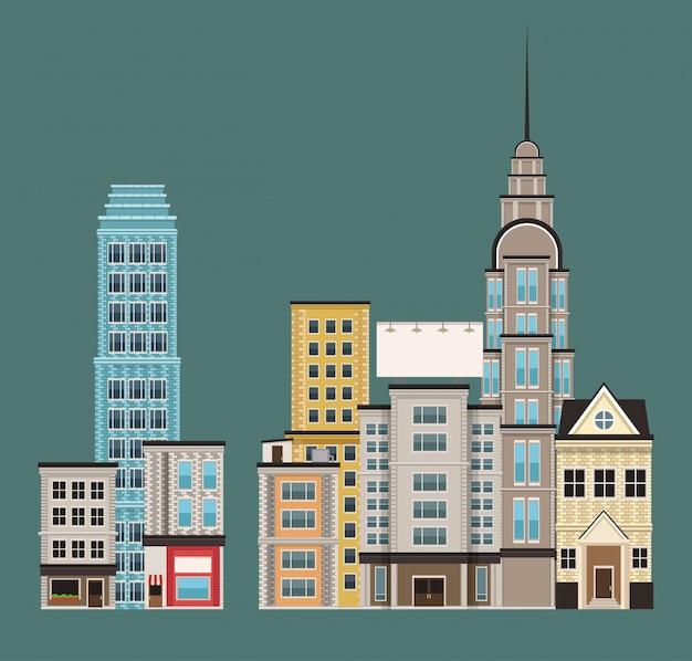 Edifícios urbanos no primeiro andar