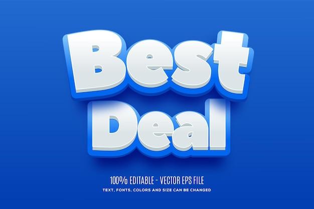 Editable 3d best deal blue yellow efeito de texto fácil de alterar ou editar