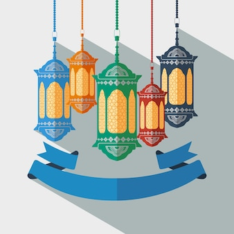 Editable arabian lantern and ribbon vector illustration