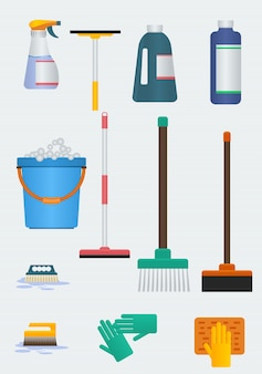 Editable cleaning tools vector illustrations set