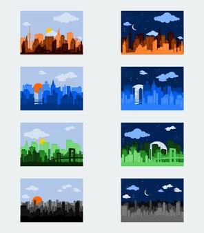 Editable day and night city silhouettes ilustração vetorial