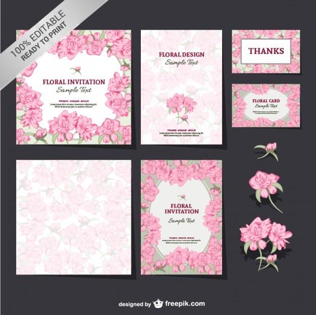 Editável floral conjunto mock-up