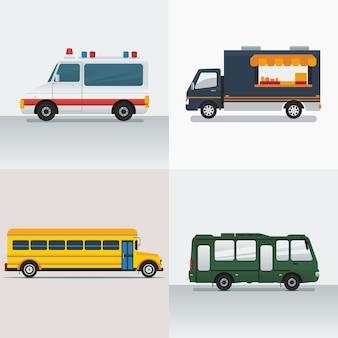Editável vários veículos illustraton set