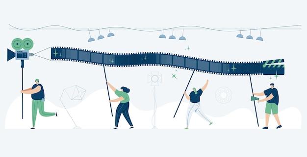 Editor de vídeo trabalhando com videoclipes, ilustração estilo cartoon