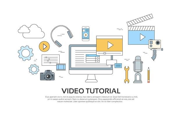 Editor de vídeo tutorial conceito moderno conjunto de ícones de tecnologia