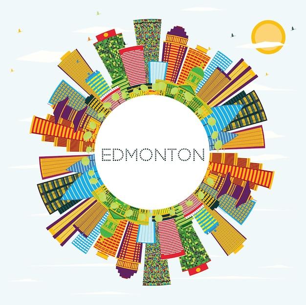 Edmonton city skyline com edifícios de cor, céu azul e espaço de cópia. ilustração vetorial. viagem de negócios e conceito de turismo com edifícios modernos. edmonton canada cityscape com pontos turísticos.